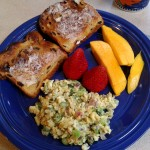 Sunday Brunch:  Egg Scramble with Veggies, Raisin Toast and Fresh Fruit